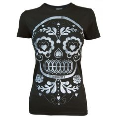 Loungefly Ladies Sugar Skull black T Shirt, Black ($27) ❤ liked on Polyvore