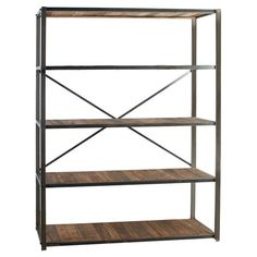 Lend an industrial-chic touch to your living room or den with this 5-shelf bookcase, featuring an iron frame, cross support, and wooden shelves.