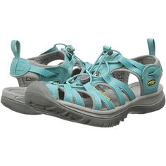 Keen Whisper (Baltic/Neutral Gray) Women's Sandals (4.955 RUB) ❤ liked on Polyvore featuring shoes, sandals, blue, patent leather shoes, lace up shoes, elastic shoes, low top and patent shoes