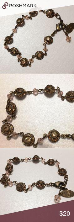 Liz Palacios bracelet Beautiful dainty vintage look bracelet with peach crystal rondelles in antique brass setting. Liz Palacios SF Jewelry Bracelets