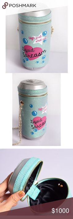 """Coming Soon ! Liquid Sarcasm Chain Shoulder Bag Brand new Sparkly glitter can shaped bag with """"liquid sarcasm ugh just shut up"""" on it. Gold chain strap. So cute! (Once this listing is available for purchase the price will be dropped to the correct price and if you have liked the listing you will be notified) #sarcastic #kawaii #witty #unique Bags Shoulder Bags"""