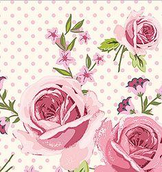 Tissus Ring a Roses par 50 cm - Rose et pois roses