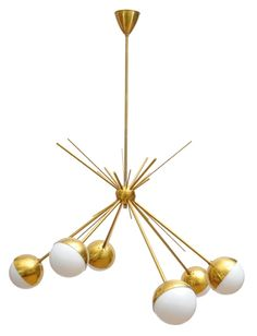 Fabulous Furnishings. Stilnovo sputnik chandelier in brass.