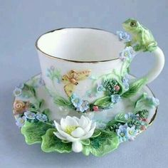 Adorable sculpted tea cup & saucer - floral, butterfly & frog - how would you wash it?