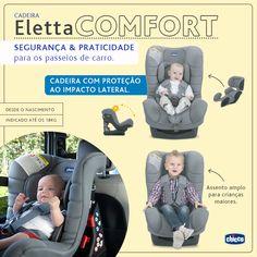 SEGURANÇA & PRATICIDADE para os passeios de carro.  A Eletta Comfort possui 4 posições de reclínio para viagens confortáveis e sonecas tranquilas. Ela tem proteção contra impacto lateral e acompanha um redutor ergonômico para melhor acomodar o bebê nos primeiros meses. Seu forro é confeccionado em tecido tecnológico para acomodar a criança com o máximo conforto. Para acompanhar você e seu pequeno em todos os passeios e viagens!