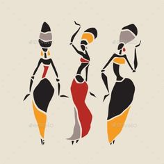 Figures of african dancers. Dancing woman in ethnic style. VectorIllustration.