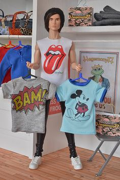 Fashion Royalty male doll size custom T shirts