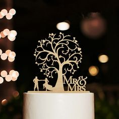 Wedding Cake Topper/ Cake Stand (Mr. & Mrs. Dancing Under The Three)