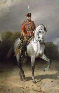 A painting of Tsar Alexander lll of Russia in horseback.A♥W