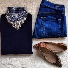 Jeans, gingham shirt, navy crew neck sweater, crystal flower necklace, leopard print flats