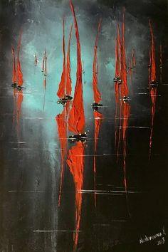 Voile rouge peinture nuit mer art abstrait voiliers art