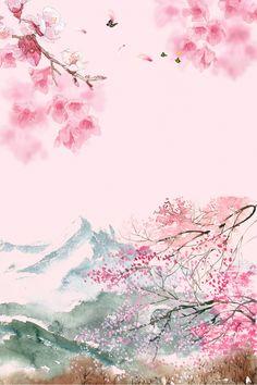Chinese Cherry Blossom, Anime Cherry Blossom, Pink Blossom Tree, Cherry Blossom Background, Cherry Blossom Painting, Cherry Blossom Flowers, Cherry Blossom Wallpaper Iphone, Sakura Wallpaper, Flower Wallpaper