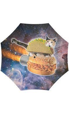 Funny Taco Cat in Space Compact Umbrella Folding Travel Rain/Sun Umbrella Anti-uv, Windproof Rainproof Umbrella Best Price