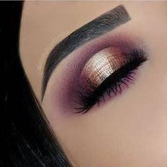 Gold & purple eye shadow