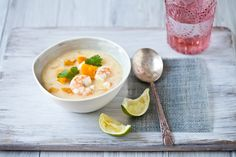 Coconut Soup With Red Kuri Squash and Shrimp and Lady Apple Cardamom Cake. - http://www.tarteletteblog.com/2011/10/recipegluten-free-coconut-soup-with-red.html