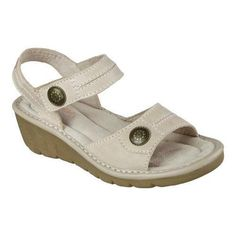 Walk-on great comfort and style with the SKECHERS Cameo Character sandal. Smooth leather upper in an ankle strap casual comfort slide wedge sandal with stitching and overlay accents. Memory Foam cushioned footbed. Memory Foam cushioned