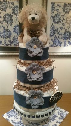 Boy Blue Puppy and Denim Diaper Cake by ItsUpInTheAttic on Etsy