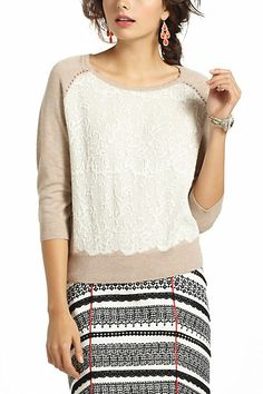 Jacquard Lace Pullover - Anthropologie.com