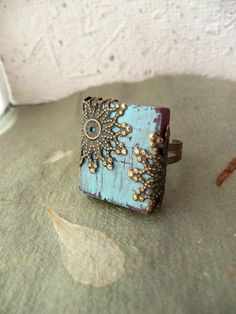 Hand Painted, Distressed Scrabble Tile Ring. I stinkin LOVE this!!!