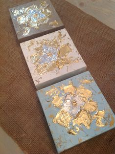 "6x6"" mixed media on canvas $40 each by Jenn Meador Paint. Email to purchase jennmeadorpaint@gmail.com Diy Artwork, Diy Wall Art, Canvas Artwork, Feuille D'or, Glitter Art, Gold Art, Leaf Art, Triptych, Painting Inspiration"