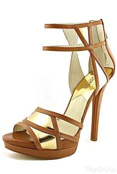 Michael Kors Jaida Back Zip Cut Out Leather Dress Sandal