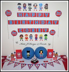 Unisex Super Hero Superheroes Personalised Birthday Party Decorations Supplies Packs Shop Online Australia Banners Bunting Wall Display Cupcake Toppers Chocolate Wrappers Juice Water Pop Top Labels Posters Lanterns Invites Cup Stickers Ideas Inspiration Cake Table Katie J Design and Events Batman Spiderman Captain America Hulk Iron Man Superman Super Girl Bat Girl Wonder Woman Boys and Girls