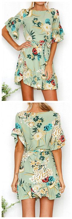 Women's Round Neck Flounce Sleeve Floral Printed Dress OP:266428 $27.00
