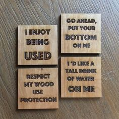 Dirty Humor Table Coaster Custom Engraved Inappropriate – My CMS Funny Coasters, Table Coasters, Drink Coasters, Wood Burning Crafts, Wood Burning Art, Tile Crafts, Wood Crafts, Kitchen Humor, Funny Kitchen