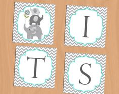 Elephant Baby Shower Baby Shower Banner by APartyWithPaper on Etsy