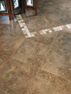 A good view of our new entryway flooring....it is stone tile with ...