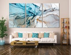 Large Marble Art Marble Canvas Print Beautiful Abstract Art Set of 3 Panels Large Canvas Art, Canvas Wall Art, Canvas Prints, Panel Wall Art, Diy Wand, Modern Wall Decor, Diy Wall Decor, Ink Painting, Painting Prints