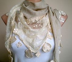 Nude Beige Scarf with Lace Tulle Wedding Shawl by fizzaccessory, $32.00