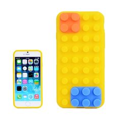 Building Block Texture Silicone case for iPhone 6 Plus(Yellow)