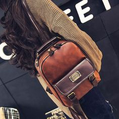 How nice Vintage Travel PU School Backpack Retro Imitation Leather Grain Backpacks ! I want to get it ASAP! Pretty Backpacks, Girl Backpacks, School Backpacks, Vintage Backpacks, Saddleback Leather, Black Leather Briefcase, Tooled Leather, Leather Bag, Brown Leather