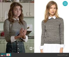 Callie's grey collared sweater on The Fosters.  Outfit Details: http://wornontv.net/50557/ #TheFosters