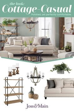 Polished, yet perfectly comfortable. Get the cottage-casual look you've seen at other stores – minus the extra zeros. New Living Room, Home And Living, Living Room Furniture, Living Room Decor, Bedroom Decor, Accent Furniture, Cheap Home Decor, Cottage Style, Home Remodeling