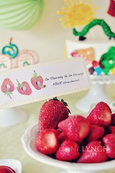 """Adorable food labels for """"The Very Hungry Caterpillar"""" b-day party"""