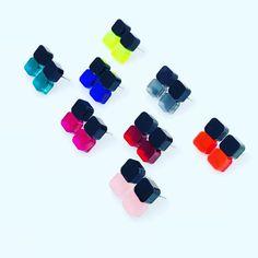 Image of Náušnice Double round sque black&color Fashion Marketing, Image, Fashion Design, Color, Black, Black People, Colour, Colors