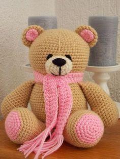 42 Cute Animal and Cartoon Character Amigurumi Crochet Patterns For Your Baby Knitted Teddy Bear, Crochet Teddy, Crochet Bear, Crochet Patterns Amigurumi, Amigurumi Doll, Crochet Animals, Crochet Dolls, Teddy Beer, Handmade Stuffed Animals