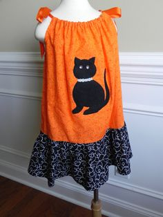 Black Cat pillow case dress with Ruffle bottom