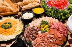 sandwich buffet - Google Search Party Platters, Party Buffet, Food Buffet, Party Trays, Finger Food Appetizers, Appetizer Recipes, Sandwich Buffet, Wedding Reception Food, Food Displays