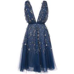 Oscar de la Renta embroidered flared midi dress ($10,365) ❤ liked on Polyvore featuring dresses, blue, calf length dresses, embroidery dresses, flare dresses, nylon dress and midi day dresses