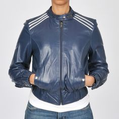 4000e322baefe Knoles  amp  Carter Women s Plus Size Contempo Racing Bomber Leather Jacket