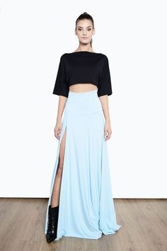 Wieczorowa spódnica maxi z rozporkiem 1415/6 Baby Blue, Skirts, Cinderella, Style, Fashion, Tunic, Swag, Moda, Skirt
