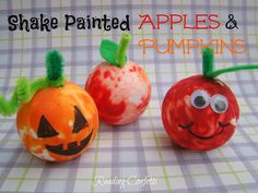 Reading Confetti: Shake Painted Apples and Pumpkins