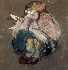 """""""Joan Eardley, Little Girl and Comic, from a series on Glasgow street children Figure Painting, Figure Drawing, Glasgow School Of Art, Paintings I Love, Face Paintings, Art Station, Pastel Art, Illustrations, Contemporary Paintings"""