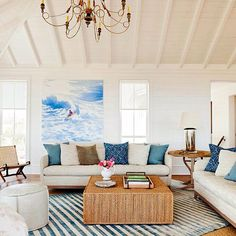 Beach pad. #sullivansisland @beauclowneyarchitects project with sun filled and relaxed living space featured in this months issue of @coastal_living magazine @jennykeenandesign interiors #islandstyle #cottage  #interiors #julialynnphoto #instadesign #explorecharleston #coastalliving #beachhouse #vaultedceiling #modern #art