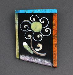 Mosaic Stone Inlay Pin/ Pendant by Mary Tafoya (Santo Domingo)