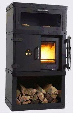 Klassic stove fireplace, developed in 1970 by Danish industrial designer Bent Falk. The concept was based on antique European stoves, with a small oven above and wood storage below.