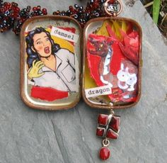 Sizzle Assemblage Mixed Media Jewelry, Valentines Day Jewelry, Gift Idea for Her